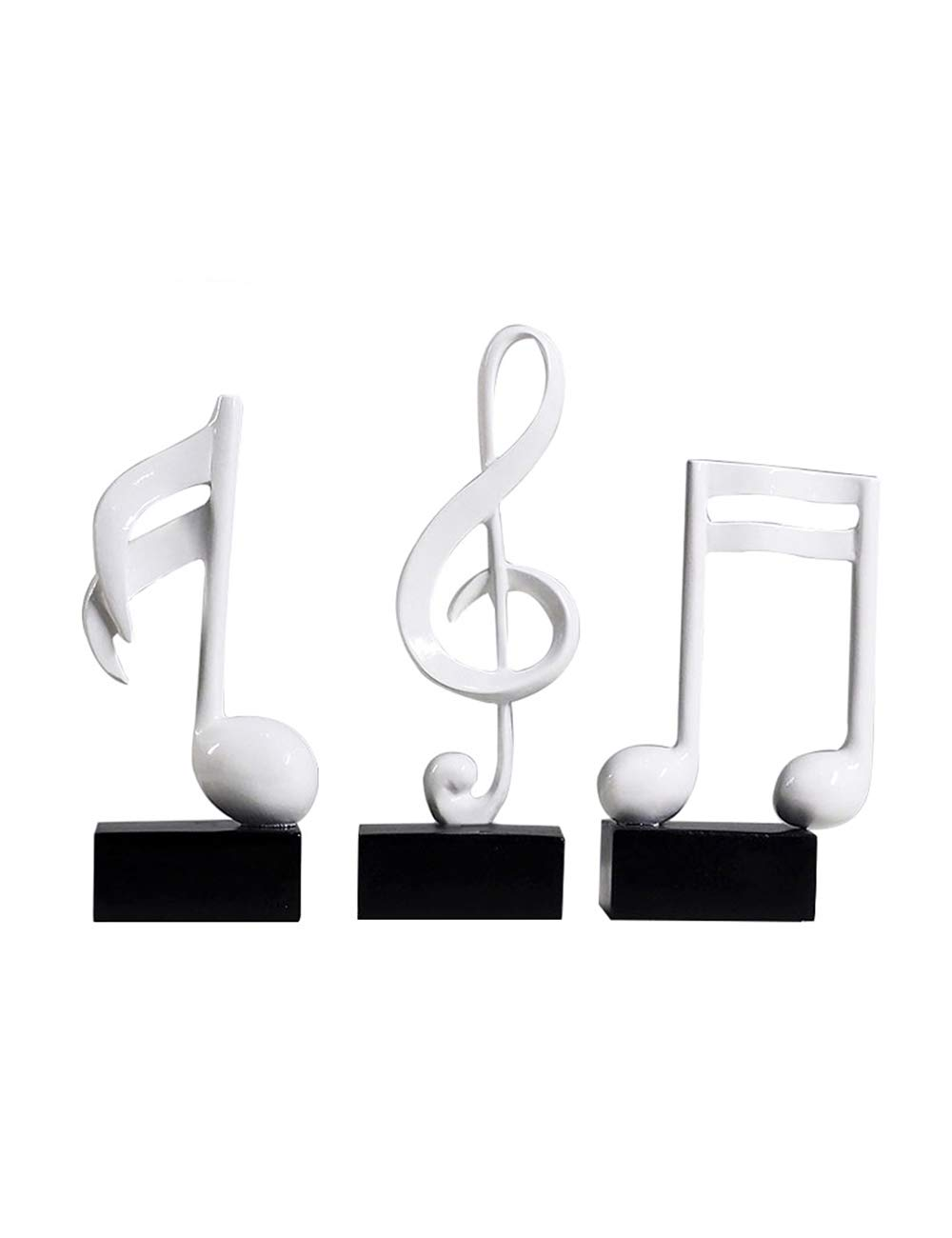 HomeBerry Musical Note Music Note Figurine Statue Sculpture Home Decor Decoration Gift Arts Crafts Hand Painted Polyreisn 19cmH Set of 3 White