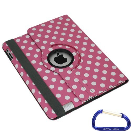 Leather Case Pink Melrose - Gizmo Dorks Rotating Swivel 360 degrees Leather Case Cover for the new Apple iPad 3rd Generation - Pink Dots