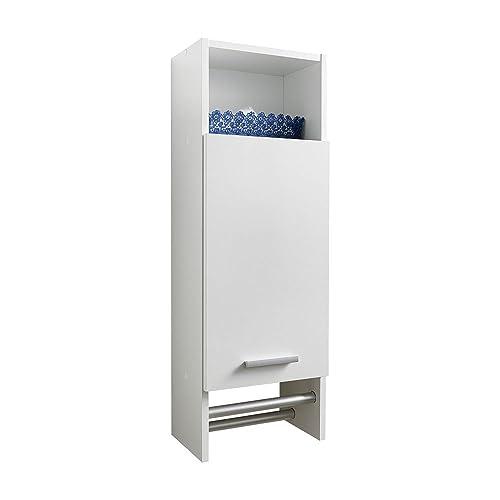 FMD Moebel 920-001 Motril 1 Elément Haut de Salle de Bains avec Porte/2 Barres Optique Aluminium/Bois Blanc 30 x 87 x 21 cm