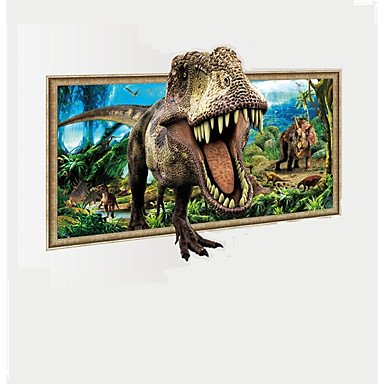 XGHC 3D Dinosaur Through Landscape Painting Wall Stickers Animals Decals Home Decor For Baby
