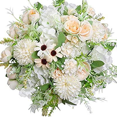 Nubry 3pcs Artificial Flowers Bouquet Fake Peony Silk Hydrangea Faux Roses Wildflowers Arrangements With Stems For Wedding Home Centerpieces Diy Decor White Amazon Sg Home