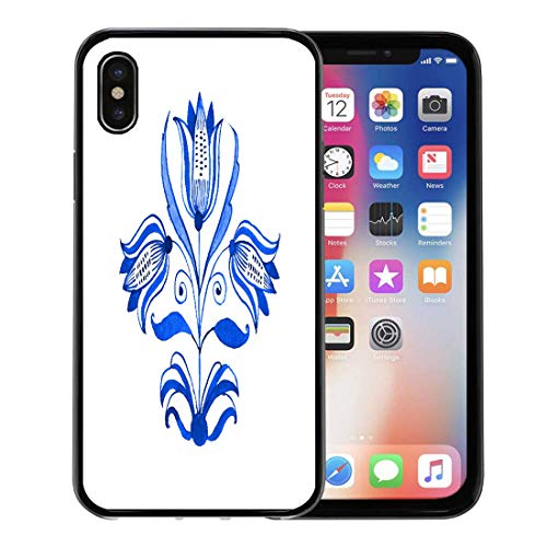 (Semtomn Phone Case for Apple iPhone Xs case,Watercolor Folk Delft Blue Watercolour Traditional Dutch Floral Tree Tulips Cobalt on Antique for iPhone X Case,Rubber Border Protective Case,Black)