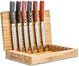 La Cote 6 Piece Steak Knives Set Japanese Stainless Steel Pakka Wood Handle In Bamboo Storage Box (6 PC Steak Knife Set - Multi)