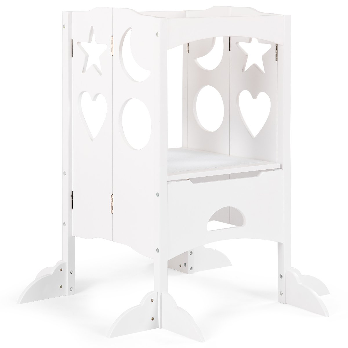 Costzon Kids Step Stool, Folding Safety Learning Stool with Climbing Holes & Non-Slippery Blanket, Perfect for Little Ones in Kitchen (White)