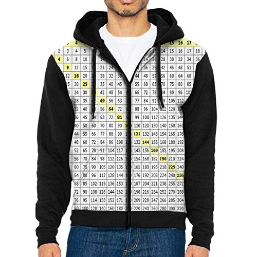 Men Hoodie Image Gallery Math Multiplication Chart Hot Full Zip with Pocket Jackets Lightweight for -