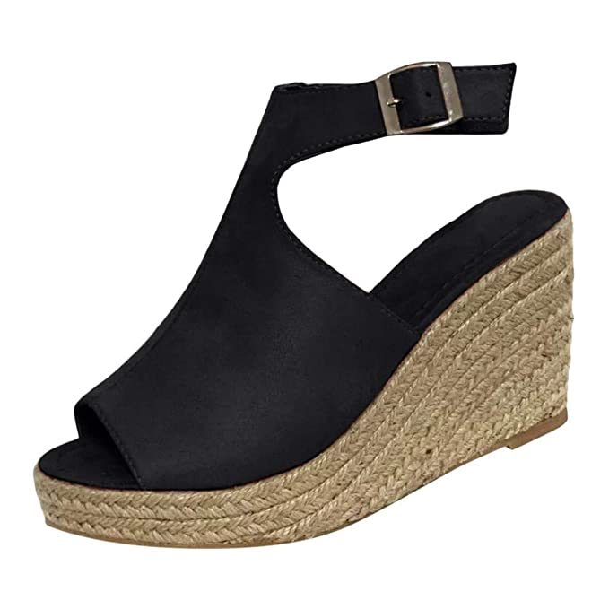 e9b9a4949abd Women Summer Straw Wedge Sandals for Women Peep Toe Ankle Strap Backless  Sandals by Lowprofile Black
