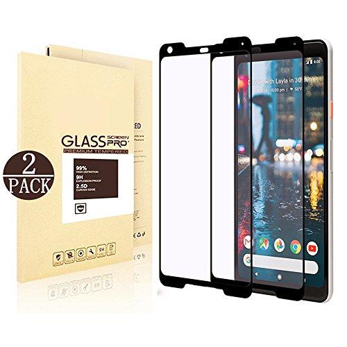 [2-Pack] (Black) Google Pixel 2 XL Screen Protector [Glass], Linboll Screen Protector for Google Pixel 2 XL [Case-friendly][HD Clear][Anti-Bubble][Anti-Scratch]