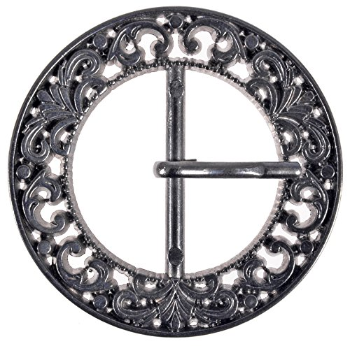 (Zinc Diecasted Buckle with Prong - Filigree Design - 50mm in Diameter -30mm Inside Center Bar - Gunmetal)