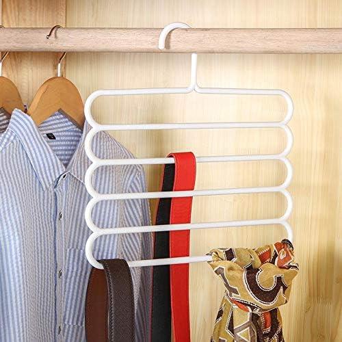 Cravatta ecc 1Pezzi-marrone Hacoly Pantaloni rack multiuso cinque piani Appendini per pantaloni Antiscivolo pantaloni Hanger rack Risparmiare spazio grucce pantaloni per Appendere Jeans Asciugamani