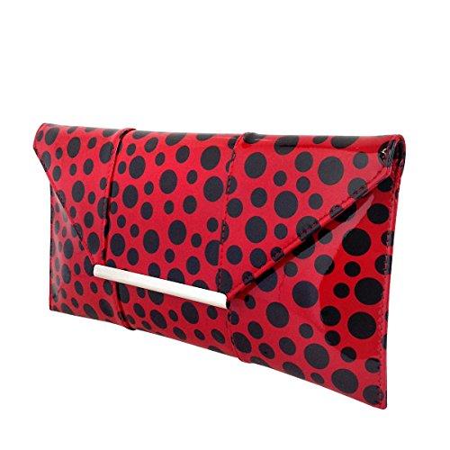 Clutch Red Patent Envelope Dot Polka A8Tq66