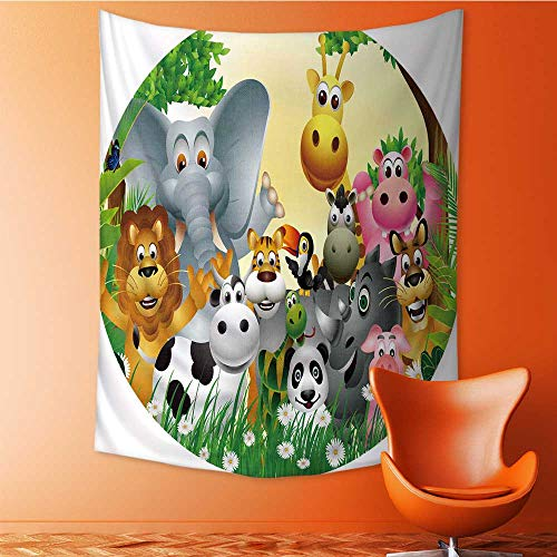 Auraisehome Vertical Version Tapestry Cool Kids Cute Animals in Jungle Elephant Giraffe Panda Bear PigLion Hippo R Hino Coon Multicolor Throw, Bed, Tapestry, or Yoga Blanket 60W x 91L INCH