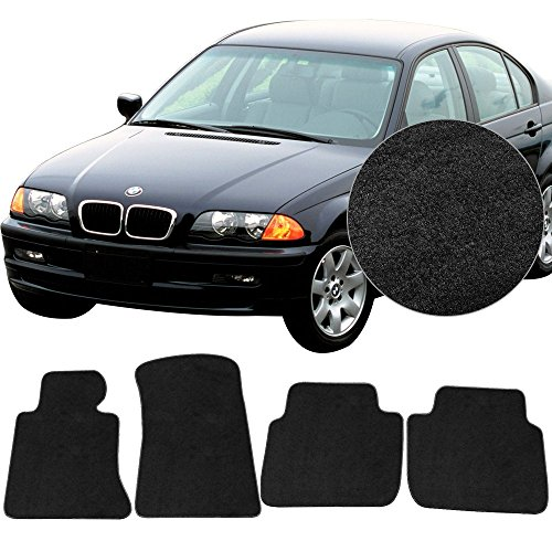 Floor Mats Fits 1998-2006 BMW 3 Series E46 | Nylon Black Let Right Front Rear 4PCS Set Carpet By IKON MOTORSPORTS | 2005 2004 2003 2002 2001 2000 1999 (Floor Mats Rear Black Bmw)
