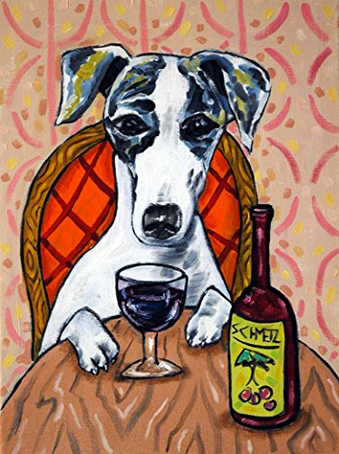 Whippet at the Wine Bar signed dog art ()