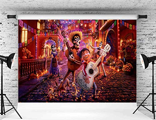 Coco Birthday Party Decoration Photography 5x7 Coco Disney Movie Photography Background for Kids Halloween Party Baby Birthday Tabletop Banner -