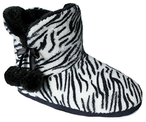 gibra - Zapatillas de estar por casa de tela para mujer negro/blanco