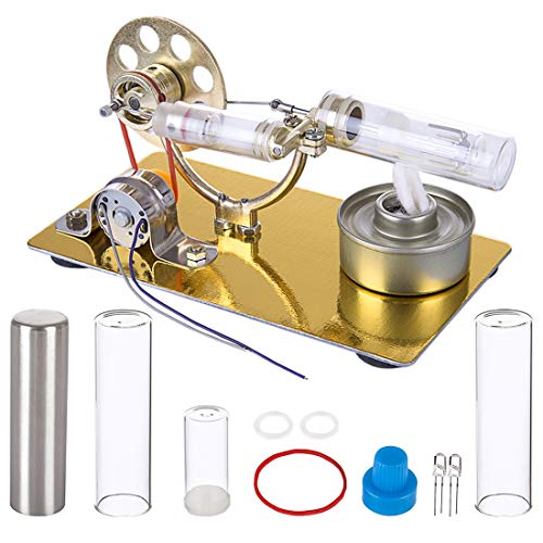 PeleusTech Stirling Engine Kit with Electric Generator - Hot Air Physics Science Kits Educational Model Toys