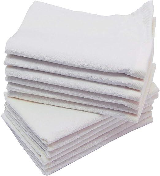 AT - Toallas de baño (100% algodón, 70 x 135 cm, 5 unidades), color blanco: Amazon.es: Hogar