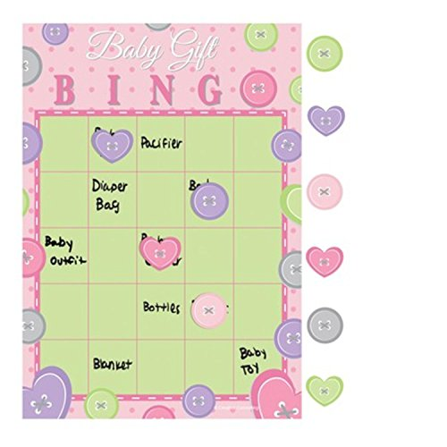 Club Pack of 60 Cute As A Button Pink Baby Girl Bingo Party Games 10'' by Party Central