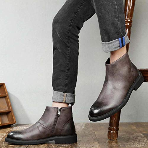 87819c77bd0 Amazon.com   Men Martin Boots Chelsea Boots Round Toe Pure Color British  Style Carved Tall Bootie Business Casual Leather Boots EU Size 38-44    Sports   ...