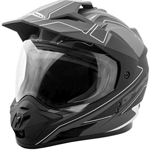 GMAX GM11 Mens Expedition Dual Sports Helmet - Flat Black/Dark Silver X-Large