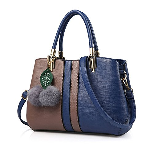 Xuanbao Travel Bag Woman Of Mixed Color Combined Shoulder Bag Woman Traveler Reduced Wild Lady (color: Brown + Blue) Blue Brown +