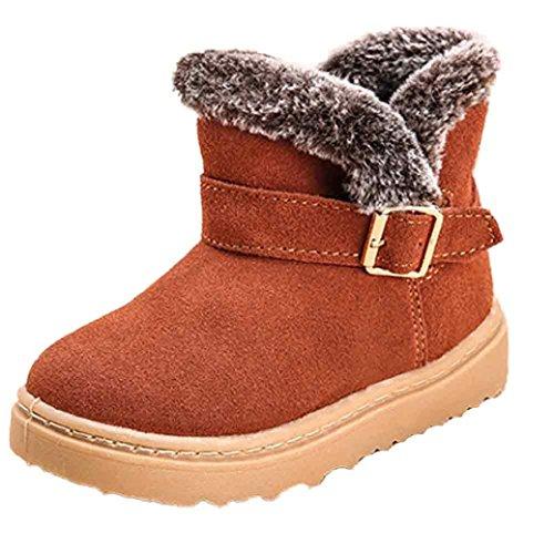 Chaussures de bébé,Fulltime® Bottes de neige enfant hiver cuir coton chaud Martin bottes (18.5CM, marron)