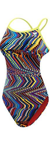 TYR Women's Glitch Crosscutfit Tieback Swimsuit, Yellow/Blue, Size 28