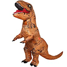 T-Rex Dinosaur Inflatable Costume- Halloween Cosplay Suit Adult Fantasy Costume Brown