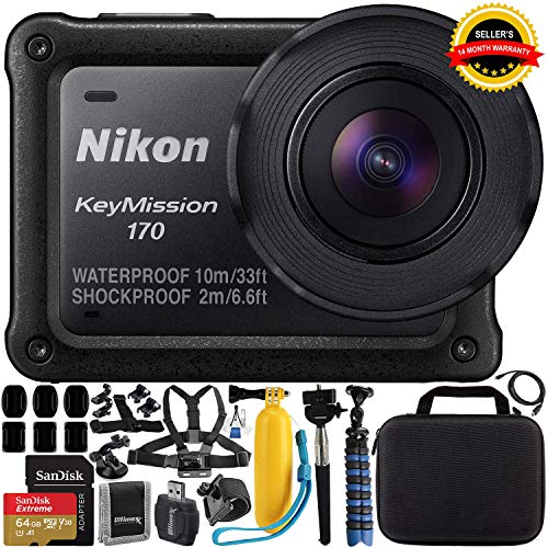 Nikon KeyMission 170 4K Action Camera with Accessory Bundle (Renewed)
