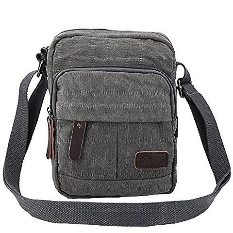 Zicac Men's Retro Small Canvas Cross Body Messenger Bags Satchel Bag (6.88