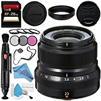 Fujifilm XF 23mm f/2 R WR Lens (Black) 16523169 + 43mm 3 Piece Filter Kit + 43mm Macro Close Up Kit + 256GB SDXC Card + Lens Pen Cleaner + Fibercloth + Lens Capkeeper + Deluxe Cleaning Kit Bundle