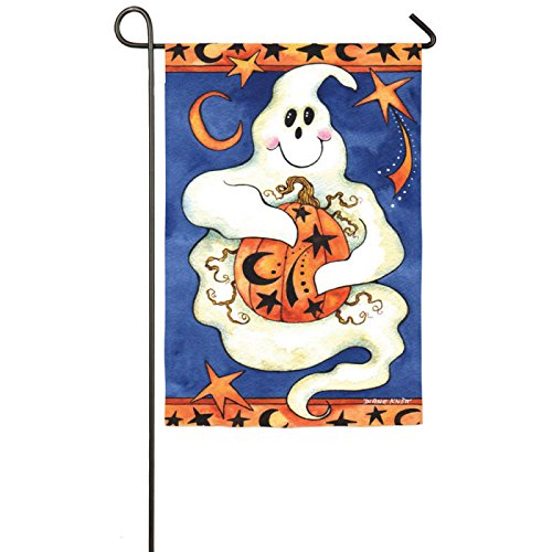Friendly Ghost and Pumpkin Halloween Garden Flag