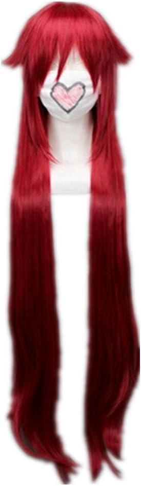 COSPLAZA Negro Butler Grell Sutcliff largo vino rojo Cosplay peluca anime pelo completo