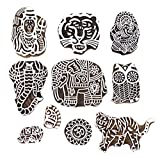 PARIJAT HANDICRAFT Printing Stamps Animal Design Wooden Blocks (Set of 10) Hand-Carved for Saree Border Making Pottery Crafts Textile Printing