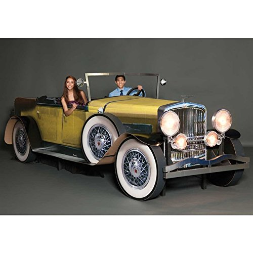 Yellow Gatsby Car - 5 Feet 8 Inches High x 17 Feet 8 Inches Wide x 6 Feet x 10 Inches Deep - Real Working Headlights and Door by TCDesignerProducts