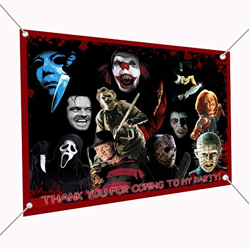 Horror Movie Icons Banner Large Vinyl Indoor or Outdoor Banner Sign Poster Backdrop, Party Favor Decoration, 30