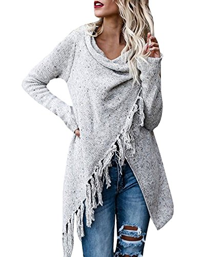 Sweetnight Women's Casual Tassel Cardigan Cowl Neck Knited Tassels Slash Sweaters Asymmetric Hem Wrap Poncho Coat Outwear (Tag S=US 2-4, Grey14) Pleated Fringe
