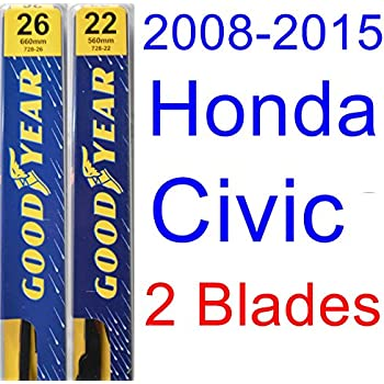 2008-2015 Honda Civic Sedan Replacement Wiper Blade Set/Kit (Set of 2 Blades) (Goodyear Wiper Blades-Premium) (2009,2010,2011,2012,2013,2014)