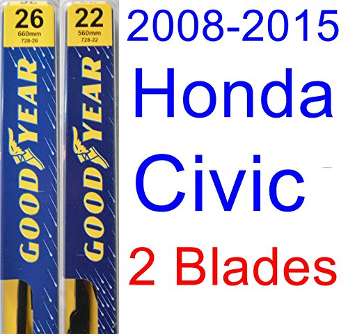 2008-2015 Honda Civic Sedan Replacement Wiper Blade Set/Kit (Set of 2 Blades) (Goodyear Wiper Blades-Premium) (Honda Civic Windshield Replacement)