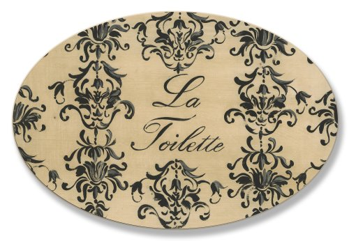 - Stupell Home Décor La Toilette Black And Beige Oval Bathroom Wall Plaque, 10 x 0.5 x 15, Proudly Made in USA