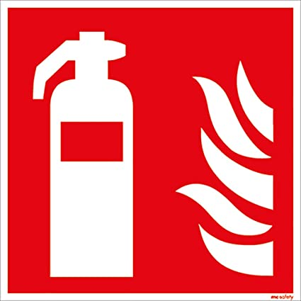 Advertencia Cartel extintor 20 x 20 cm rígida de PVC: Amazon ...