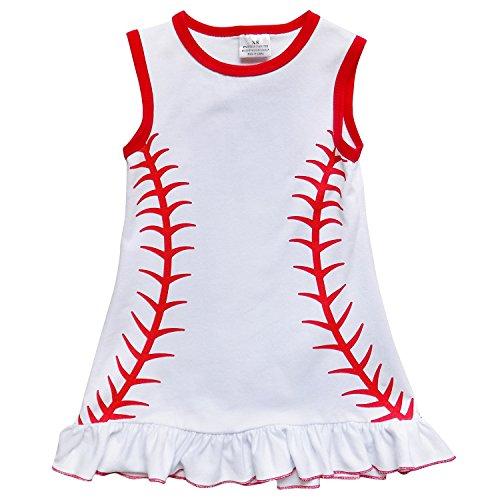 So Sydney Girls Toddler Baseball Stitch Summer Dress, Ruffle Baby Bubble Romper (XXXL (8), Baseball Dress)