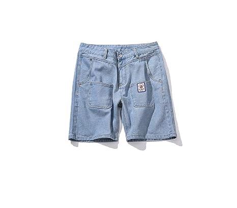 92aa7b05c FuweiEncore Pantalones Cortos para Hombres en Azul Pantalones Cortos para  jóvenes en Verano Pantalones Cortos Damin