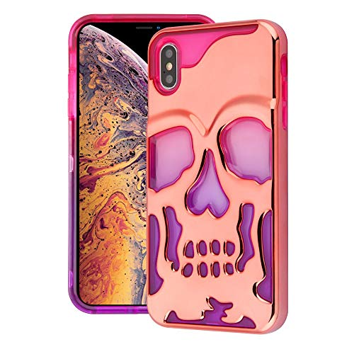 iPhone Xs Max Case, Comes with Tempered Glass Screen Protector, JoJoGold Skull Design Hybrid, Heavy Duty Hard Phone Cover - Rose Gold on Pink and -