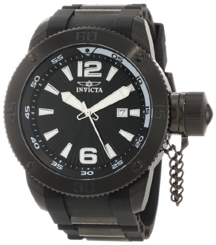 Invicta Men's 12966 I-Force Black Textured Dial Black Polyurethane Watch