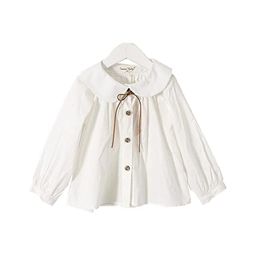 c3af822744a0f Amazon.com  YOBEBE Kids Girl White Blouse Peter pan Collar Long Sleeves  Shirt School Clothes 3-7T Top  Clothing