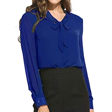 50fd599c70abba TANGSen Womens Long Sleeve Top Ladies Lace Large Size Fashion Chiffon Bow T- Shirt Solid