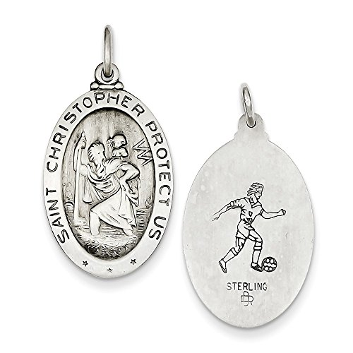 Antique Silver Football - Sterling Silver Antique Finish St. Christopher Reversible Soccer Medal Charm Pendant Length 30mm