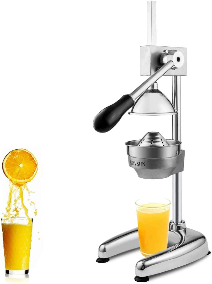 ROVSUN Commercial Grade Citrus Juicer Hand Press Manual Fruit Juicer Juice Squeezer Citrus Orange Lemon Pomegranate Silver Upgrade