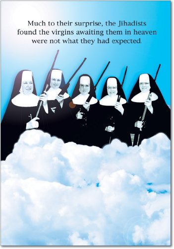 0765Z Virgins In Heaven Birthday - Funny Birthday Greeting Card with 5 x 7 Envelope by NobleWorks